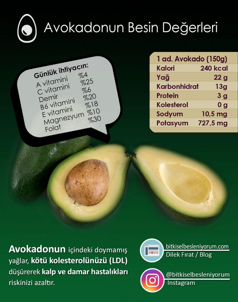 avokado besin değerleri tablosu