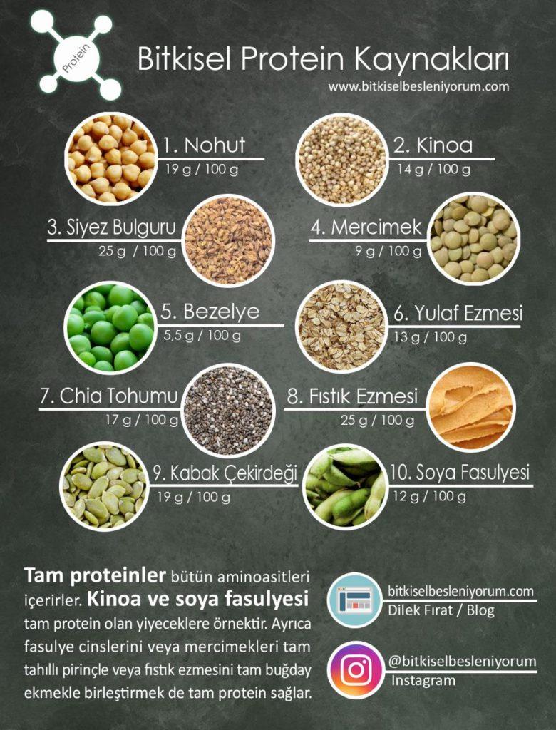 protein değeri yüksek besinler tablosu